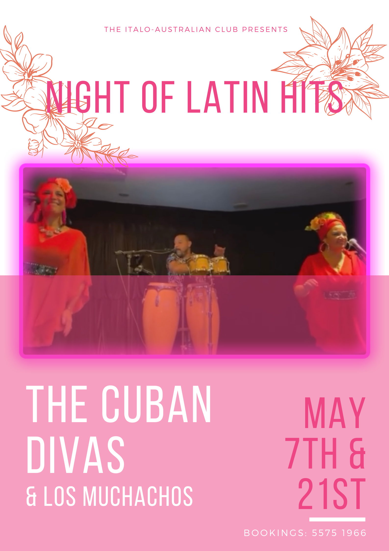 Cuban Divas performing a night of latin hits this May! Friday 7th and 21st. Booking by calling 5575 1966